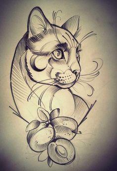 Big cat tattoo, traditionelles tattoo, tatoo art, future tattoos, new tatto Cat Tattoo Designs, Tattoo Design Drawings, Tattoo Sketches, Drawing Sketches, Cat Sketch, Pfau Tattoo, Big Cat Tattoo, Tattoo Ink, Grey Tattoo