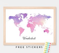 Canvas World Map Ready To Hang Canvas Wrap Choose Size World - World map and their capitals