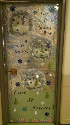 Door decorating contest at school. Snow Globes with the kids pictures inside their own snow globe!