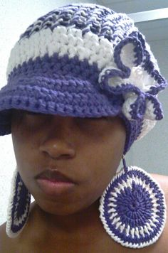 54ed20daa4e Crochet Slouchy Tam with brim Purple and White by ScarFanatic
