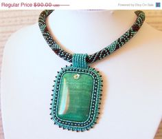 Beadwork Bead Embroidery Pendant Necklace with Green Agate - Statement necklace - heart necklace - EMERALD HEART - teal - green - black Bead Embroidery Jewelry, Beaded Embroidery, Beaded Jewelry, Beaded Necklace, Pendant Necklace, Green Agate, Teal Green, Seed Bead Patterns, Fashion Jewelry Necklaces