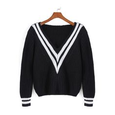 SheIn(sheinside) Black V Neck Striped Crop Sweater ($19) ❤ liked on Polyvore featuring tops, sweaters, black, crop top, black crop top, loose sweater, v neck pullover sweater and long sleeve pullover sweater