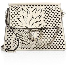 Chloé Medium Faye Perforated Leather Shoulder Bag ($1,603) ❤ liked on Polyvore featuring bags, handbags, shoulder bags, man bag, white purse, leather purses, leather handbags and hand bags