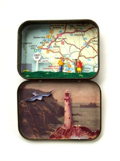 Lands End, Cornwall diorama in a vintage tin