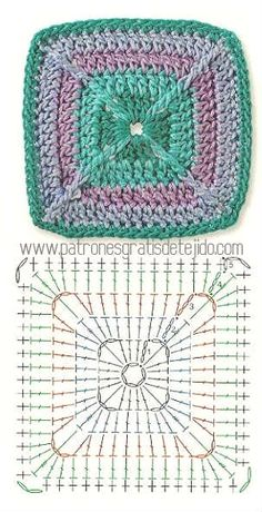 Transcendent Crochet a Solid Granny Square Ideas. Inconceivable Crochet a Solid Granny Square Ideas. Grannies Crochet, Crochet Quilt, Crochet Blocks, Crochet Afghans, Crochet Stitches, Knit Crochet, Crochet Motif Patterns, Granny Square Crochet Pattern, Crochet Chart