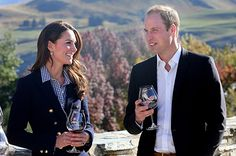 Catherine Duchess of Cambridge and Prince William, Duke of Cambridge sample red wine as the visit Otago Wines at Amisfield winery on April 13, 2014 in Queenstown, New Zealand.