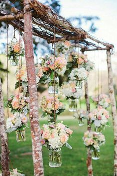 Shabby & Chic Vintage Wedding Decor Ideas ❤ shabby chic vintage wedding decor ideas wooden arch decorated with suspended flower jars rebecca arthurs photography #weddingforward #wedding #bride