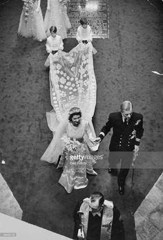Queen Elizabeth II (as Princess Elizabeth) with Prince Philip, Duke of Edinburgh, on their wedding day in Westminster Abbey, London. Original Publication: Picture Post - 4438 - Royal Wedding - pub. 1947