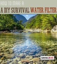 The ability to make your own water filtration device is an essential survival skills, here's the video tutorial on how to make DIY survival water filter. | http://survivallife.com/2015/01/12/diy-survival-water-filter/