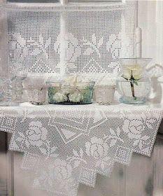 Victoria - Handmade Creations : Καρέ και κουρτίνα στο ίδιο μοτίβο