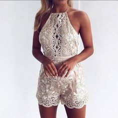 Casual Country Wedding Dresses Sexy Lace Condole Belt Golden Backless Short Jumpsuit Lace Playsuit, Sequin Jumpsuit, Short Jumpsuit, White Lace Romper, Bodycon Jumpsuit, Jumpsuit Dress, Sequin Dress, Rompers Women, Lace Shorts