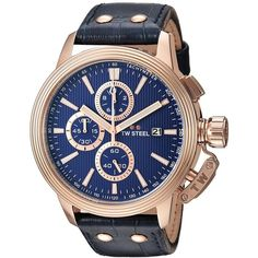 TW Steel 'CEO Adesso' Quartz Stainless Casual Watch, Color:Blue... ($695) ❤ liked on Polyvore featuring jewelry, watches, blue chronograph watch, butterfly jewelry, butterfly watches, blue wrist watch and quartz watches