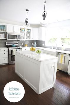White and grey kitchen makeover - love the pops of color!