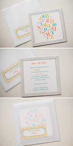 DIY - Baby Shower Invitation Set - Free PDF Templates. Love the Zig-Zag Stitching on the Invite and on the self-made Vellum envelope.