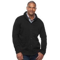 Big & Tall SONOMA Goods for Life™ Classic-Fit Fleece Shawl-Collar Cardigan Sweater, Men's, Size: Xl Tall, Black