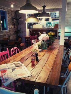 -Tabletop made from Recycled New Zealand Rimu. Interior Fit Out, Cafe Interior, Interior Design, Loft Cafe, Diy Furniture Restoration, Cafe Design, Design Shop, New York Loft, Shop Fittings