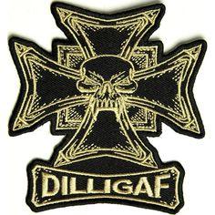 The Dilligaf Skull Biker Patch Small Embroidered Patch measures inch. Iron on or Sew on Application. Biker Patches, Iron On Patches, Skull Patches, Jack Black, Black And Brown, Black Jacks, Bike Gang, Skull Artwork, Skull Illustration