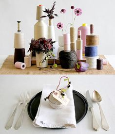 centerpieces created by David Stark // Totally on point for the crafty party & DIY type.