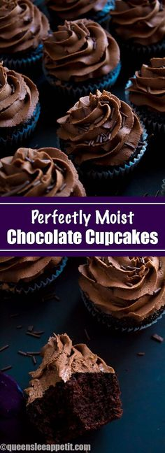 These Chocolate Cupcakes are perfectly moist, fluffy and full of rich chocolate flavour! Topped with a silky and dreamy Chocolate Buttercream Frosting - these cupcakes are the perfect treat for chocoholics. Cupcakes Au Cholocat, Kokos Cupcakes, Cupcakes Cool, Best Chocolate Cupcakes, Chocolate Flavors, Chocolate Recipes, Cupcake Cakes, Chocolate Cupcakes From Scratch, Chocolate Chocolate