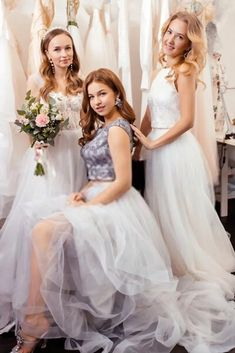 Two Piece Bridesmaid Dresses When is a dress not really a dress? When it is two separates that form the look of one dress. Two piece styles are often more flattering than a one piece dress, and the… Two Piece Bridesmaid Dresses, Bridesmaid Ideas, Wedding Dresses, Girls Dresses, Flower Girl Dresses, One Piece Dress, Two Pieces, Wedding Inspiration, Style