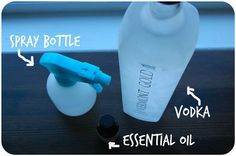 Pour the vodka into an empty spray bottle for easy application. Make sure to use vodka only, as water will dilute the alcohol's odor-removing power. Spray a light mist on the stinky fabric. As it dries the smell goes into the air. House Cleaning Tips, Diy Cleaning Products, Cleaning Solutions, Spring Cleaning, Cleaning Hacks, Clean Life, Me Clean, Clean House, Clean Break