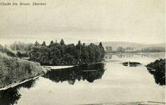 Hedmark fylke Sør-Odal kommune Skarnes utsikt fra broen over Glomma. Brukt 1915 Utg Normann River, Outdoor, Outdoors, Outdoor Games, Outdoor Living, Rivers