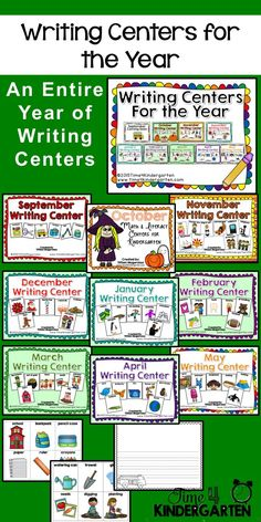 A year of writing centers. Includes vocabulary picture cards and citing papers for a variety of writing topics.