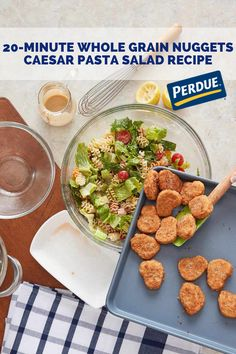This salad can be made in only 20 minutes—perfect for lunch. Caesar Pasta Salads, Pasta Salad Recipes, Breaded Chicken, Whole Grain Bread, Calorie Diet, Healthy Alternatives, Grains, Nutrition, Yummy Food
