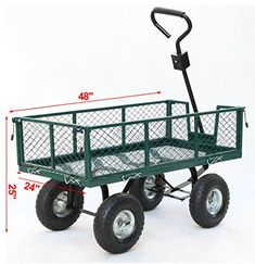Gotobuy Wagon Cart 800 LB Capacity Utility Heavy Duty Yard Garden Home  Product Description      ● This utility cart is used for securely storing, organizing, and transporting equipment, supplies, and materials.   ● It's suitable for use in industrial, manufacturing, and maintenance applications, as well as in the home gardens, warehouses.   ● The sides of the crate fold down, and can be removed entirely for flatbed wagon applications, thus can facilitate loading and unloading of hea..