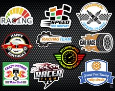 Racing Stickers for DIY Cardboard Box Car, also makes great Race Car, Hot Wheels or Disney Cars Party decorations by KidsPartyWorks Disney Cars Party, Disney Cars Birthday, 3rd Birthday, Hot Wheels Birthday, Hot Wheels Party, Race Car Party, Race Cars, Race Car Stickers, Laptop Stickers