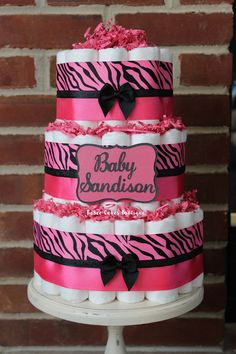 3 Tier Hot Pink Zebra Diaper Cake, Girl Baby Shower, Pink And Black Zebra