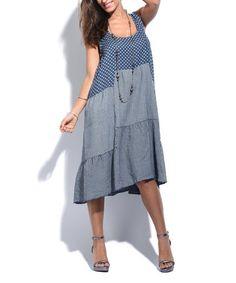 Blue Polka Dot & Stripe Sleeveless Linen Shift Dress #zulily #zulilyfinds