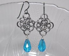 Dangling chain maille earrings - aluminum rings, Swarovski crystals, niobium ear wires on Etsy, $19.55 CAD