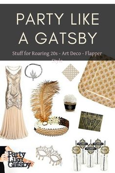 **SEE ROARING 20s IDEAS** The roaring twenties theme calls for roaring twenties dresses with fringe, feather hair accessories and Gatsby style pearls. Get ready for a wedding, bridal shower or party with these art deco party supplies. #gatsby #artdeco #roaringtwenties