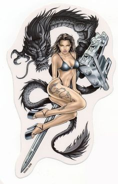 dragon+with++fairy+tattoo+designs | Details about Sexy DRAGON TATTOO GIRL Bikini TATTOO GUN STICKER/DECAL
