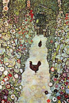 Garden Path with Chickens, by Gustav Klimt