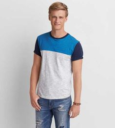 AEO Colorblock Crew T-Shirt - Buy One Get One 50% Off Half Shirts, Camisa Polo, American Eagle Men, Mens Outfitters, Aeo, Neck T Shirt, Color Blocking, Lounge Wear, American Eagle Outfitters