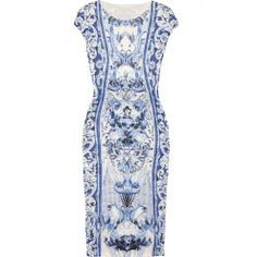 Free Shiping ! #dress  #idreammart Idreammart Extravagant Jane's Blue and White Porcelain Cap Sleeve Mini Pencil Dress