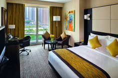 Guestrooms feature either views of the lakes or of the Dubai Marina skyline.