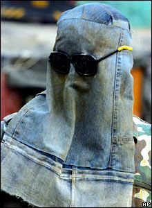 Denim welding hood || So post-apocalyptic :) ... hey, do you smell something burning?