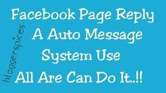 Facebook Page Auto Reply Message