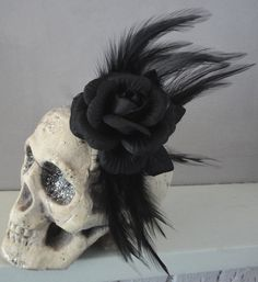 Feather Fascinator Hair Clip - Rockabilly / Gothic Wedding, Vintage, Burlesque, Hair Accessory or Corsage. $10.00, via Etsy.