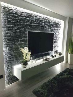 Modernste und anmutigste TV-Wandgestaltung Wohnzimmer TV Decken Sch ne a Tv Wand Design, Wand Designs, Home Living Room, Living Room Decor, Bedroom Decor, Bedroom Tv, Bedroom Interiors, Decor Room, Cozy Bedroom