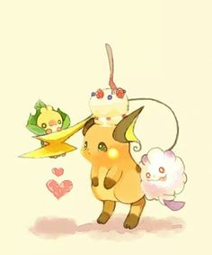 Raichu, Sewaddle and Swirlix ♡ I give good credit to whoever made this