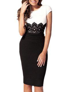 02013122bdc Fvogue Fashion Lace Floral Round Neck Zipped OL Dress Bodycon Dress---- 9.99