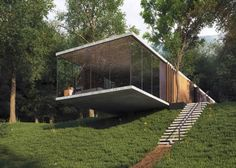 This modern design glasshouse located near Almaty, Kazakhstan was designed by the architecture studio Design A. The house was called Imagine Cantilever Architecture, Sustainable Architecture, Residential Architecture, Contemporary Architecture, Interior Architecture, Chinese Architecture, Futuristic Architecture, Container Home Designs, Glass House Design
