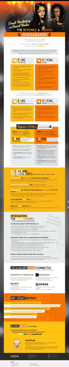 Email Marketing and Social Media The Beyonce and Shakira  #Infographic #Beyonce #Shakira #SocialMedia