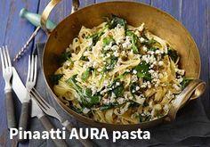 Pinaatti AURA pasta  Resepti: Valio #kauppahalli24 #ruoka #resepti #pinaatti
