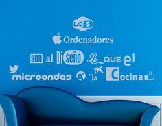 """. Vinilo decorativo con una frase sobre diseño gráfico """"Los ordenadores son al diseño lo que el microondas a la cocina"""" 04517 - Tienda online de vinilos decorativos, stickers, wall art, decoración"""