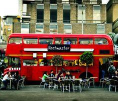 Rootmaster Vegan Restaurant (London): Elys Yard, The Old Truman Brewery, 15 Hanbury Street - Bus Restaurant, Container Restaurant, Food Cart Design, Food Truck Design, Vegan Restaurants London, Coffee Food Truck, Vegan London, Truck Interior, Cafe Interior